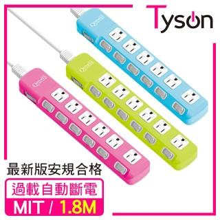 【Qpower 太順電業】太超值系列 TS-376A 3孔7切6座延長線(1.8米)