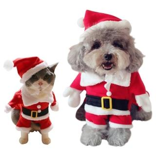 【夢工廠】小型寵物聖誕站立裝 參加派對 寵物聚會全場焦點 寵物衣服(聖誕專屬變身裝 拍照用 聖誕老公公)