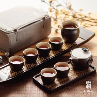 【LohasPottery 陸寶】定窯龍紋茶組 一壺一海六杯 便攜布包(帶著茶具旅行去)