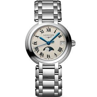 【LONGINES 浪琴】PrimaLuna 新月羅馬月相石英女錶-銀/30mm(L81154716)