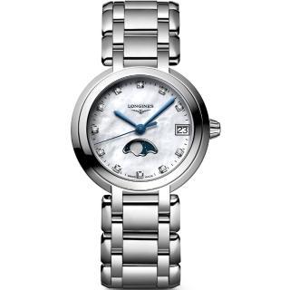 【LONGINES 浪琴】PrimaLuna 新月真鑽月相石英女錶-珍珠貝/30mm(L81154876)