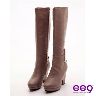 【ee9】心滿益足~香榭大道美型粗跟長靴~迷情可可(長靴)