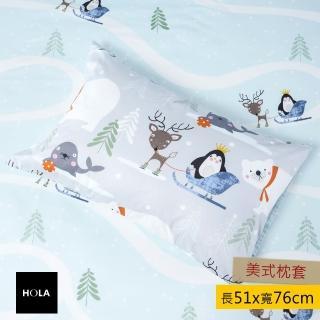 【HOLA】HOLA 雪地聖誕純棉防抗菌枕套 2入