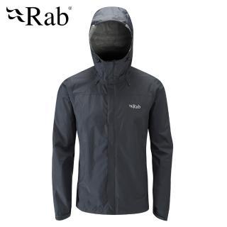 【英國 RAB】Downpour Jacket 高透氣連帽防水外套 男款 黑色 #QWF61(防水外套)