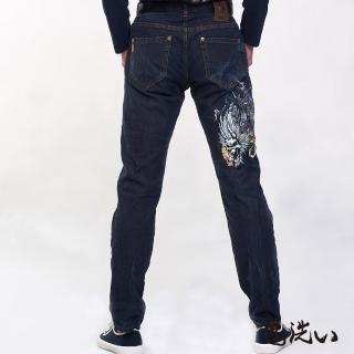 【BLUE WAY】鬼洗風雷鬼精繡小直筒褲 - 鬼洗