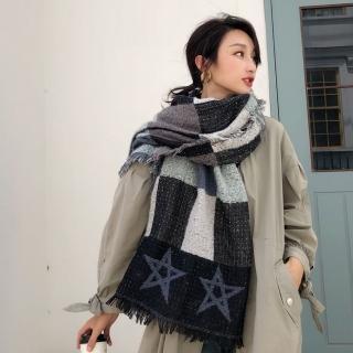 【梨花HaNA】韓系新款藍灰星星方塊混搭仿羊絨披肩圍巾
