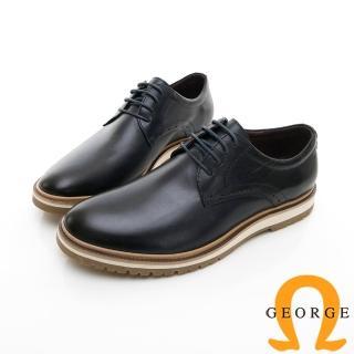 【GEORGE 喬治皮鞋】休閒系列 綁帶柔軟紳士休閒皮鞋-黑色