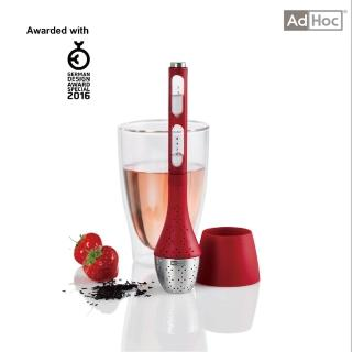【AdHoc】附計時器漂浮濾茶器  紅