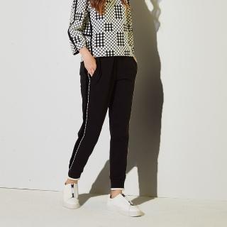 【ICHE 衣哲】明線鑲邊側拼接微寬時尚必備造型長褲-黑