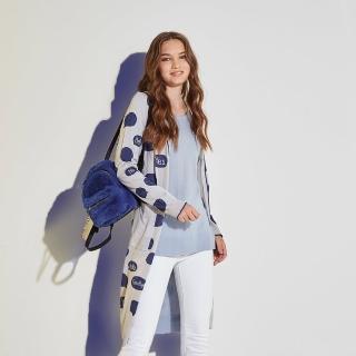 【ICHE 衣哲】暖時尚羊毛時尚摩登印花針織長版造型外套-灰