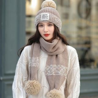 【Acorn*橡果】韓系撞色針織加絨毛帽+圍巾1818(兩件組-卡其)