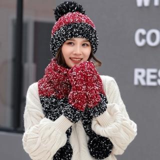 【Acorn*橡果】韓系雪花撞色針織保暖毛帽+圍巾+手套1817(三件組-酒紅)