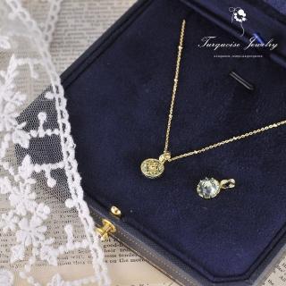 【Turquoise Jewelry】輕奢復古巴洛克風天然托帕石雙面戴S925銀鍍18K細緻鎖骨項鍊(tqsm0026)