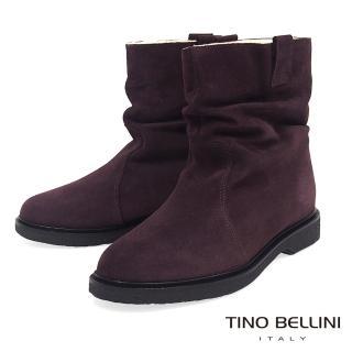【TINO BELLINI 貝里尼】義大利進口自然抓皺內鋪毛平底中筒靴B79207(咖)
