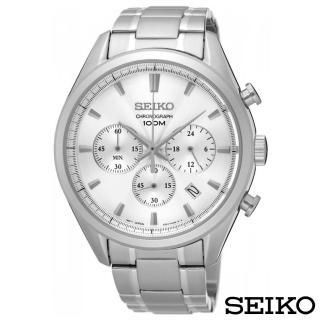 【SEIKO 精工】城市精英三眼計時石英腕錶(SSB221P1)
