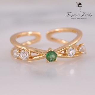 【Turquoise Jewelry】輕珠寶系列綠光森林天然祖母綠交叉設計S925銀鍍金戒指(tqsu0021)
