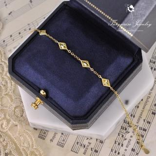 【Turquoise Jewelry】輕珠寶系列優雅陽光黃菱格鋯石墜飾S925銀鍍金手鍊(tqst0003-yellow)