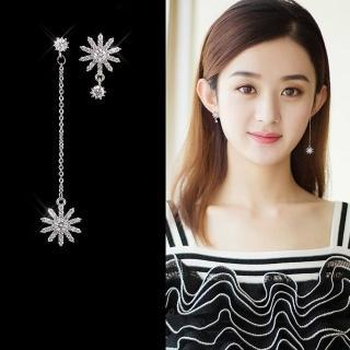 【梨花HaNA】韓國925銀針花現光芒鋯石不對稱垂墜耳環