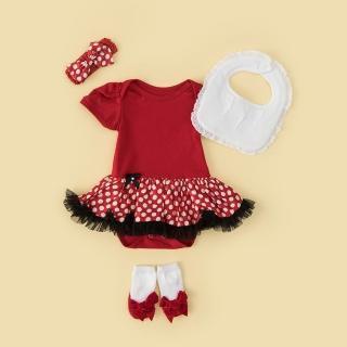 【日安朵朵】女嬰雪紡蓬蓬裙連身衣禮盒–俏皮M小姐(包屁衣+圍兜+寶寶襪彌月禮盒生日周歲送禮)