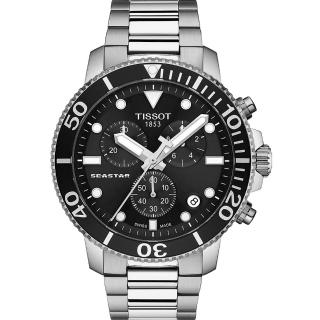 【TISSOT 天梭】Seastar 海星300米潛水石英錶-黑鋼(T1204171105100)