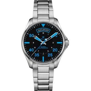 【HAMILTON 漢米爾頓】KHAKI PILOT 飛行員系列機械錶-黑x藍時標/42mm(H64625131)