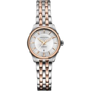 【HAMILTON 漢米爾頓】JAZZMASTER 爵士機械女錶-銀/30mm(H42225151)