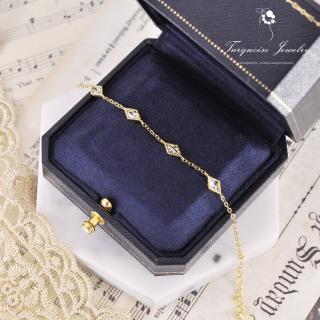 【Turquoise Jewelry】輕珠寶系列優雅澄淨透明菱格鋯石墜飾S925銀鍍金手鍊(tqst0003-white)