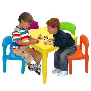 【寶貝家 】繽紛桌椅組一桌四椅( 生產)
