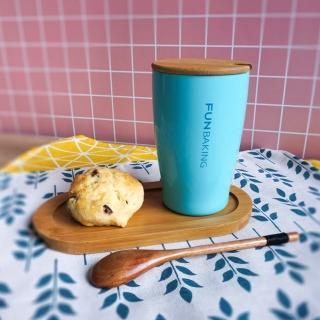 【Homely Zakka】愜意時光不銹鋼雙層真空咖啡杯水杯附蓋(天空藍)