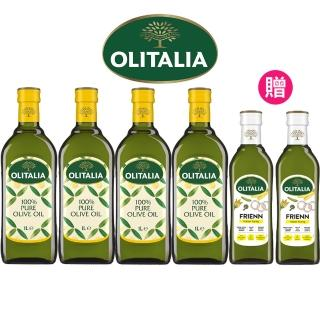 vip限定【Olitalia 奧利塔】純橄欖油1000mlx4-禮盒組(贈高溫專用葵花油500mlx2瓶)