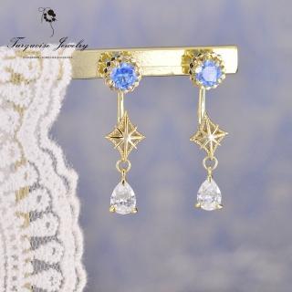 【Turquoise Jewelry】輕珠寶系列宇宙中的星軌藍色鋯石S925銀鍍金耳+耳環組(tqsh0005)