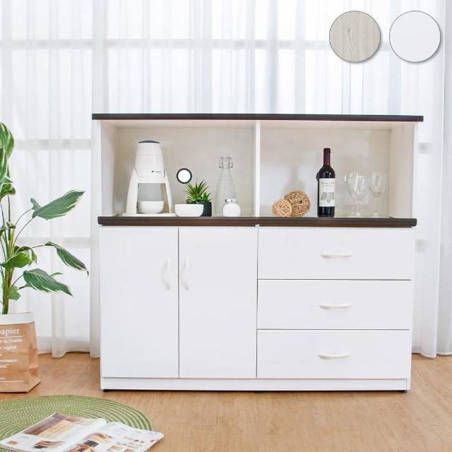 【Bernice】4.3尺二門三抽二拉盤防水塑鋼電器櫃/收納餐櫃(兩色可選)