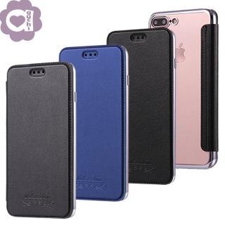 Samsung Galaxy S9 Plus 珠光真皮質感 電鍍邊框 透明美背側掀皮套/手機殼/保護套 灰藍黑多色可選