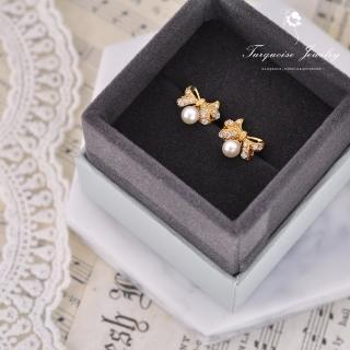 【Turquoise Jewelry】輕奢風蝴蝶結天然淡水珍珠S925銀鍍金耳環(tqsu0005)