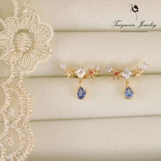 【Turquoise Jewelry】清新氣質仲夏夜之夢精緻鋯石S925銀鍍金細緻耳環(tqsm0011)