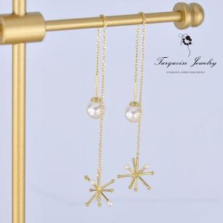 【Turquoise Jewelry】簡約輕奢風立體雪花天然迷你珍珠925銀鍍金耳環(tqsm0001)