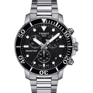 【TISSOT 天梭】Seastar 1000 海洋之星300米潛水計時錶-黑x銀/45mm(T1204171105100)