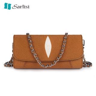 【Sarlisi】真皮女包珍珠魚皮側肩包斜背包鏈帶包