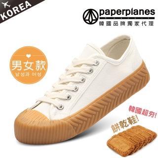 【Paperplanes】韓國空運/正常版型。男女款帆布休閒餅乾鞋(7-507大白/現貨)