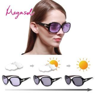 【MEGASOL】寶麗萊UV400偏光女仕晶鑽大框摺疊太陽眼鏡(感光智能變色紫片日夜全天候適用BSPU6214Z摺疊)