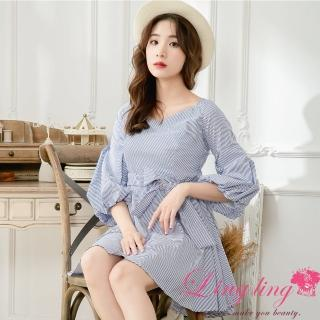 【lingling】七分花苞袖V領後背鬆緊短版洋裝PA3938(藍白條)