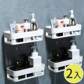 【兩入組】廚房浴室無痕收納置物架白色 免鑽牆鑽孔 透明防水背膠
