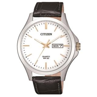 【CITIZEN 星辰】石英指針男 皮革錶帶 白面 防水50米 強化玻璃鏡面(BF2009-11A)