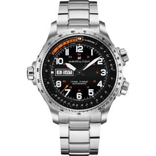 【HAMILTON 漢米爾頓】KHAKI X-Wind 御風者機械錶-黑x銀/45mm(H77755133)