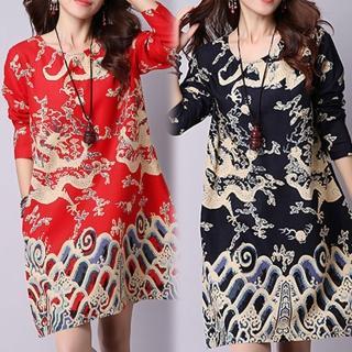【K.W.】典雅印花民族風寬鬆棉麻印花洋裝 M-XL(共2色)