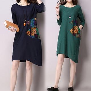 【K.W.】復古民族風撞色寬鬆長袖棉麻印花洋裝 M-XL(共2色)