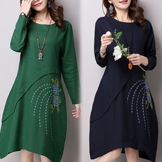 【K.W.】民族風素色印花洋裝 M-XL(共2色)