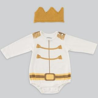 【日安朵朵】男嬰連身衣禮盒 - 白馬王子 MIT台灣製衣+皇冠帽(長短袖包屁衣寶寶彌月滿月禮週歲生日禮物)