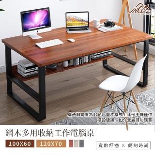 【Incare】鋼木多用收納工作電腦桌(100*60*73CM/兩色)