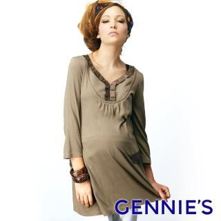 【Gennies 奇妮】緞面拼接七分袖長版上衣(卡其綠/墨綠/黑C3W04)